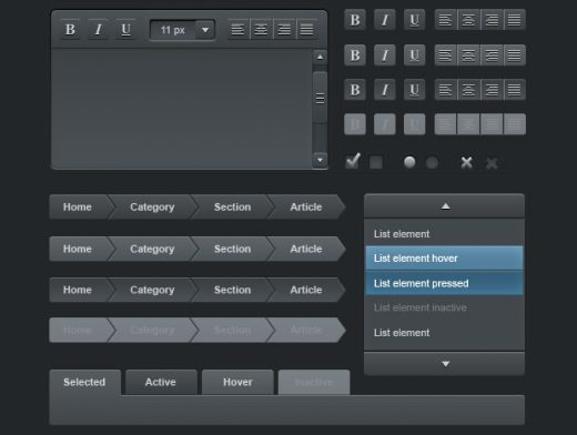 Web User Interface Dark Elements