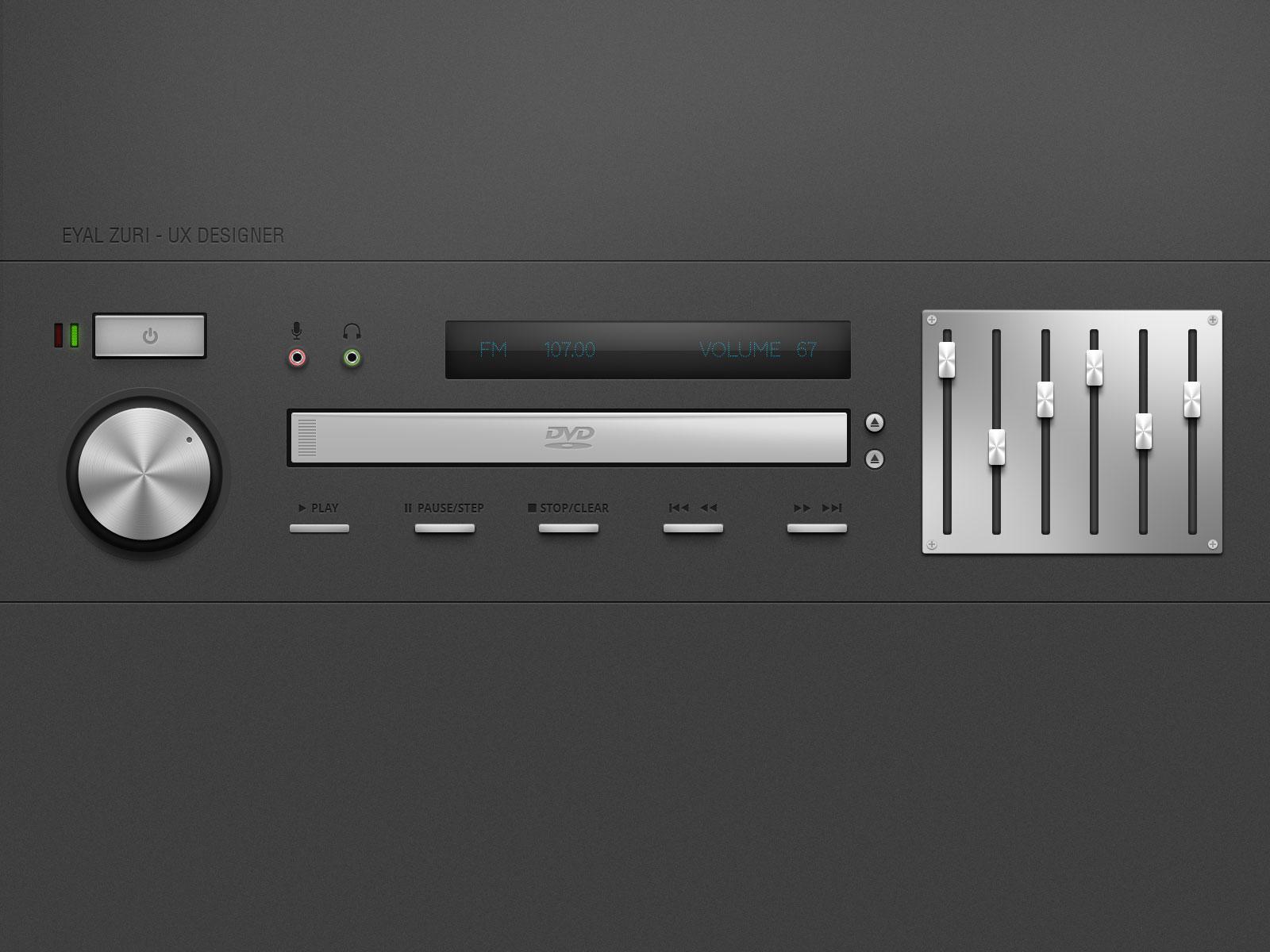DVD Player Panel Knobs Equalizer PSD Mockup