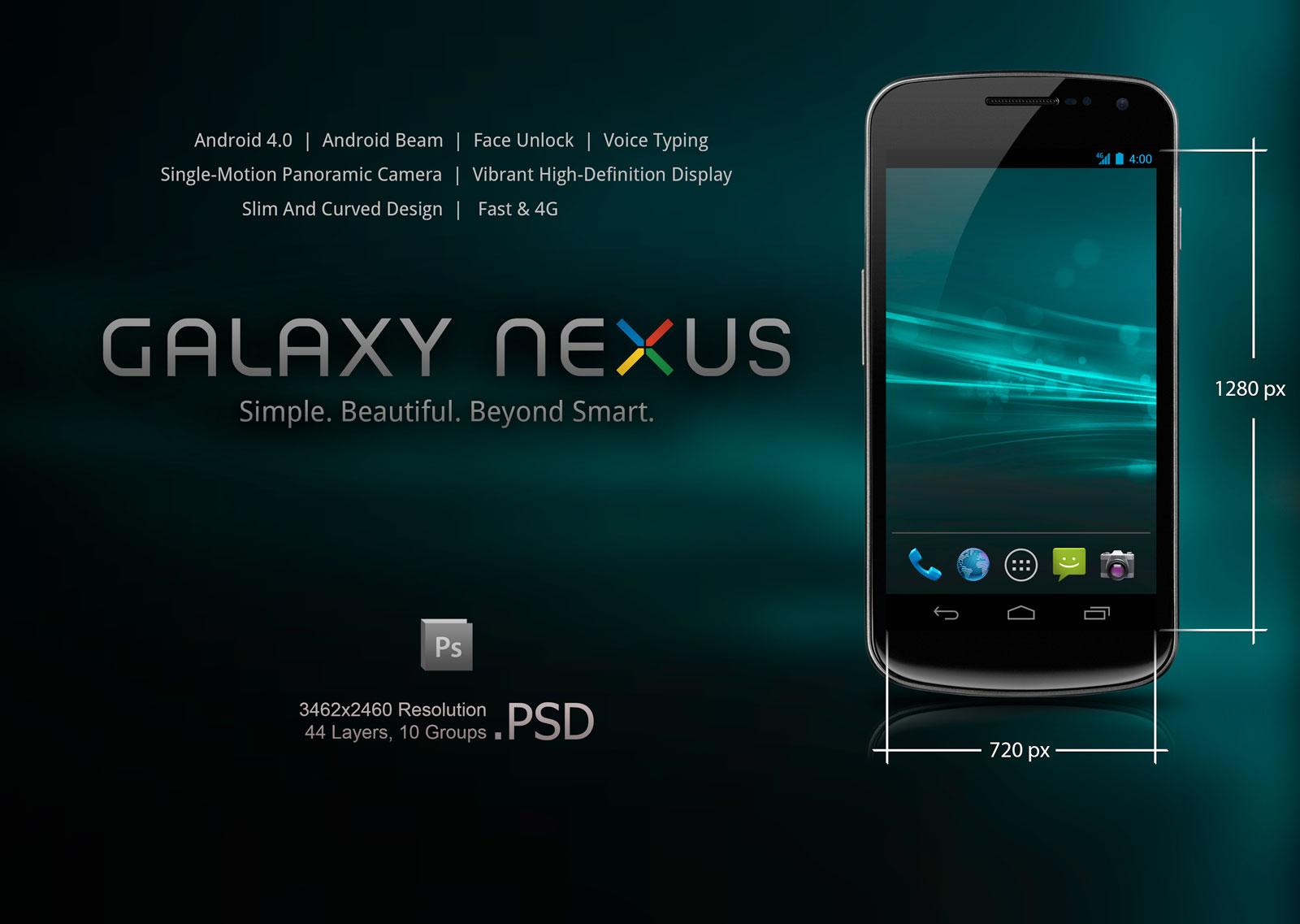 Galaxy Nexus PSD Mockup