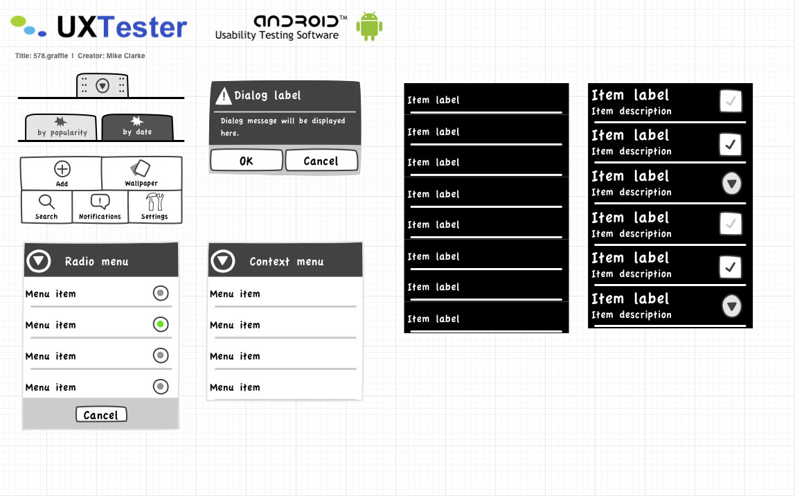 Android UX Tester Mockup Usability Stencil