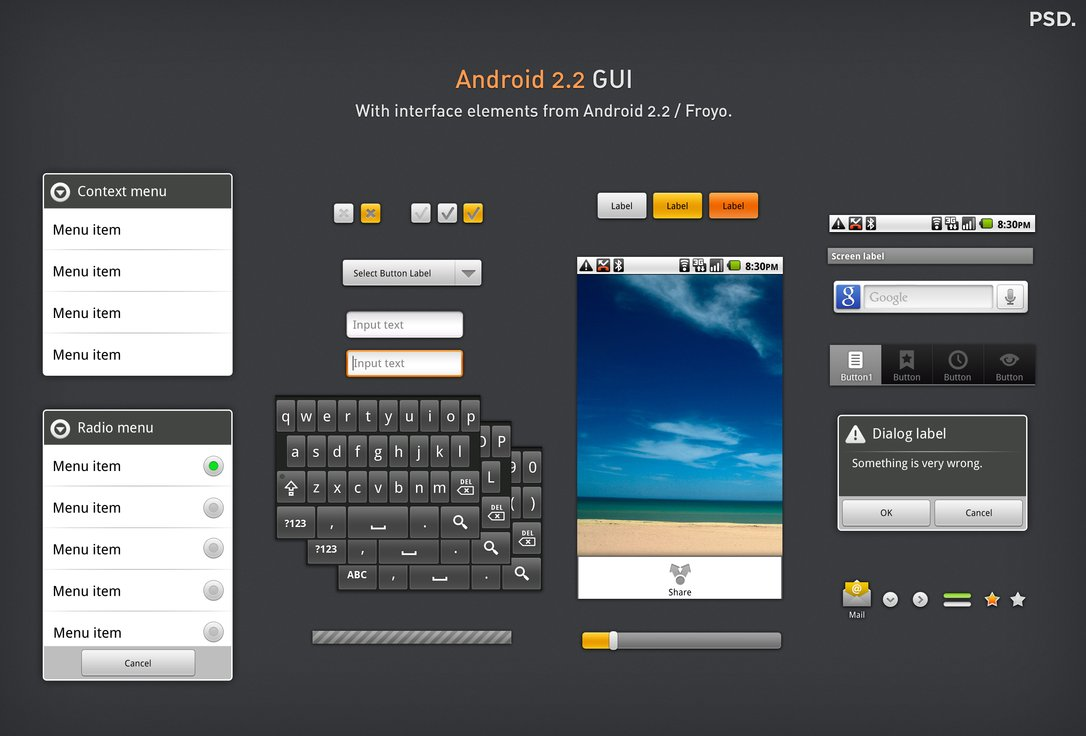 Android GUI PSD Mockup Template