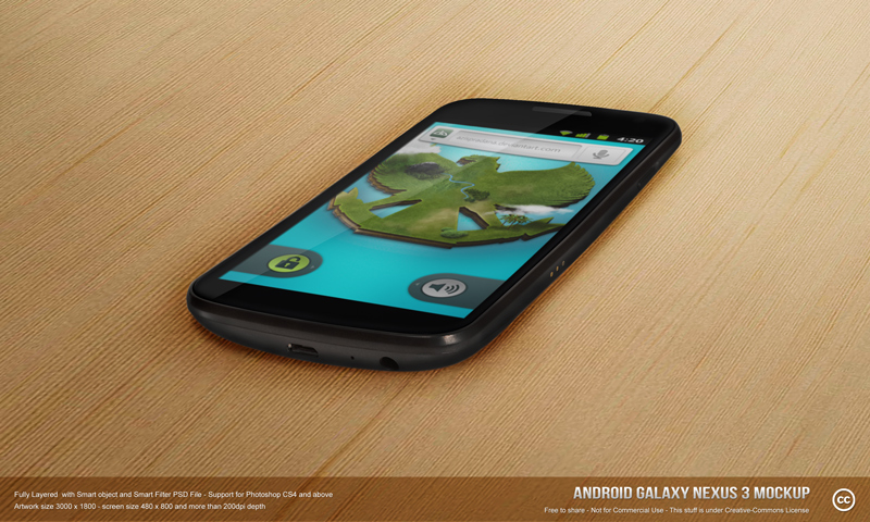 Android Galaxy Nexus 3 Mockup PSD