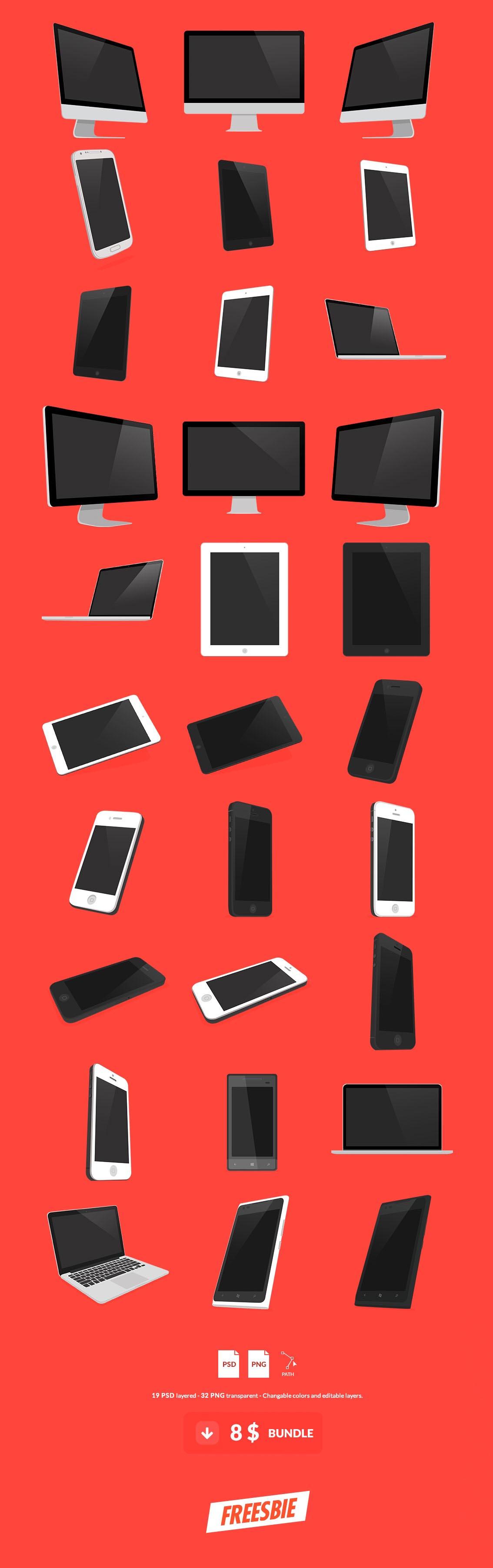 Flat UI 3D PSD Mockup Kit iPad iMac iPhone Android Nokia Windows Mobile