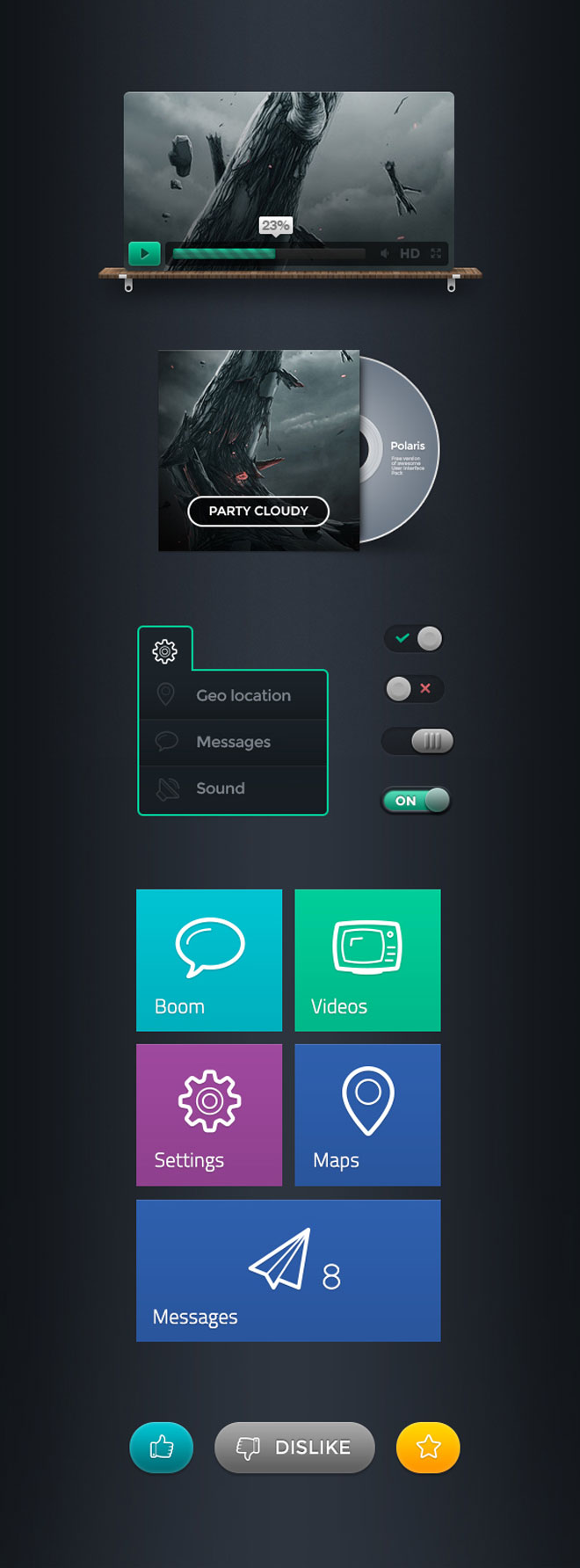 Polaris GUI Kit PSD Mockups Photoshop Vector Icons Knobs Sliders