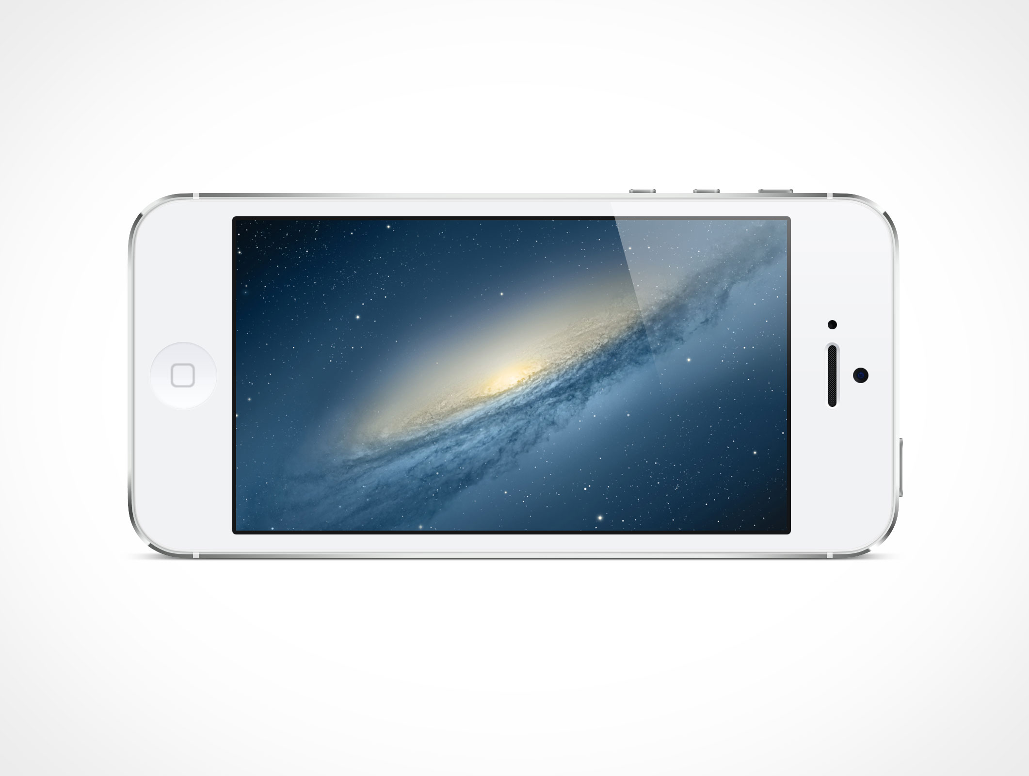 White iPhone5 Landscape PSD Mockup