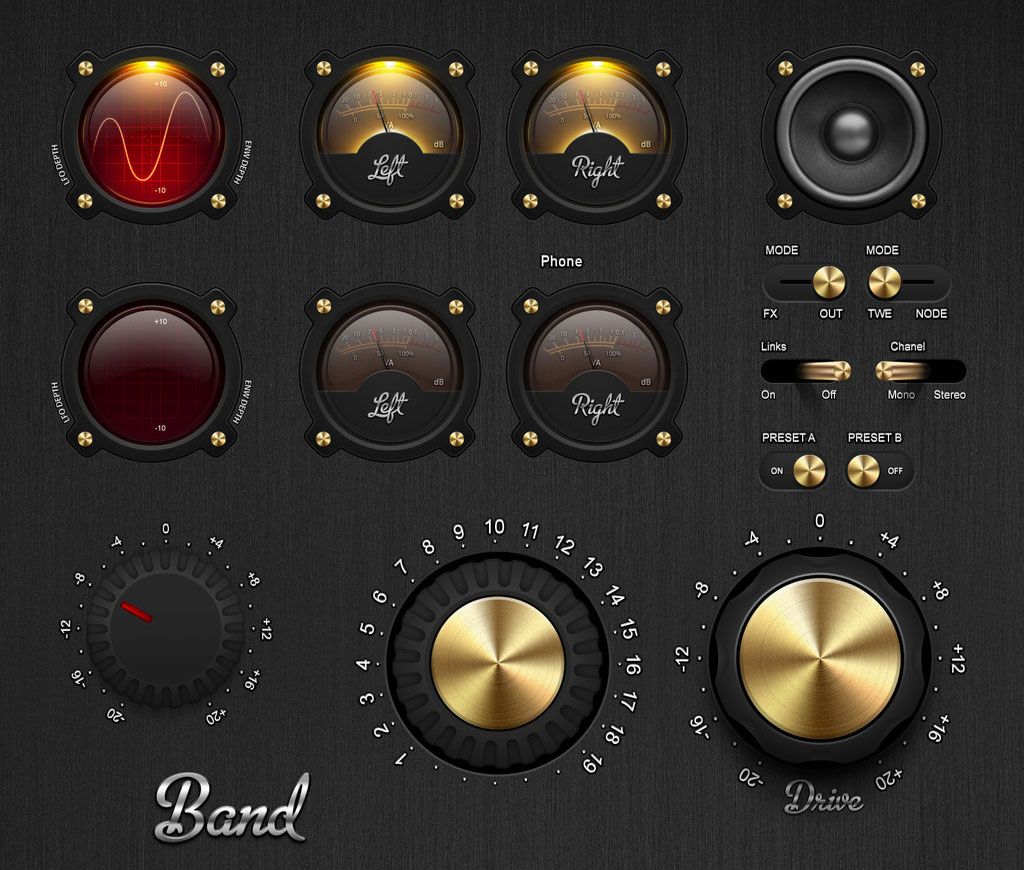 Knobs Dials Equalizers Sliders Toggles Switches PSD UI