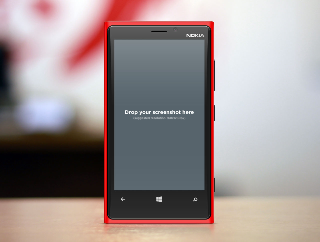 Red Windows Nokia Smartphone Mockup Product Shot