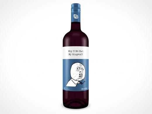 Glass Wine Bottle Drink Label PSD Mockups