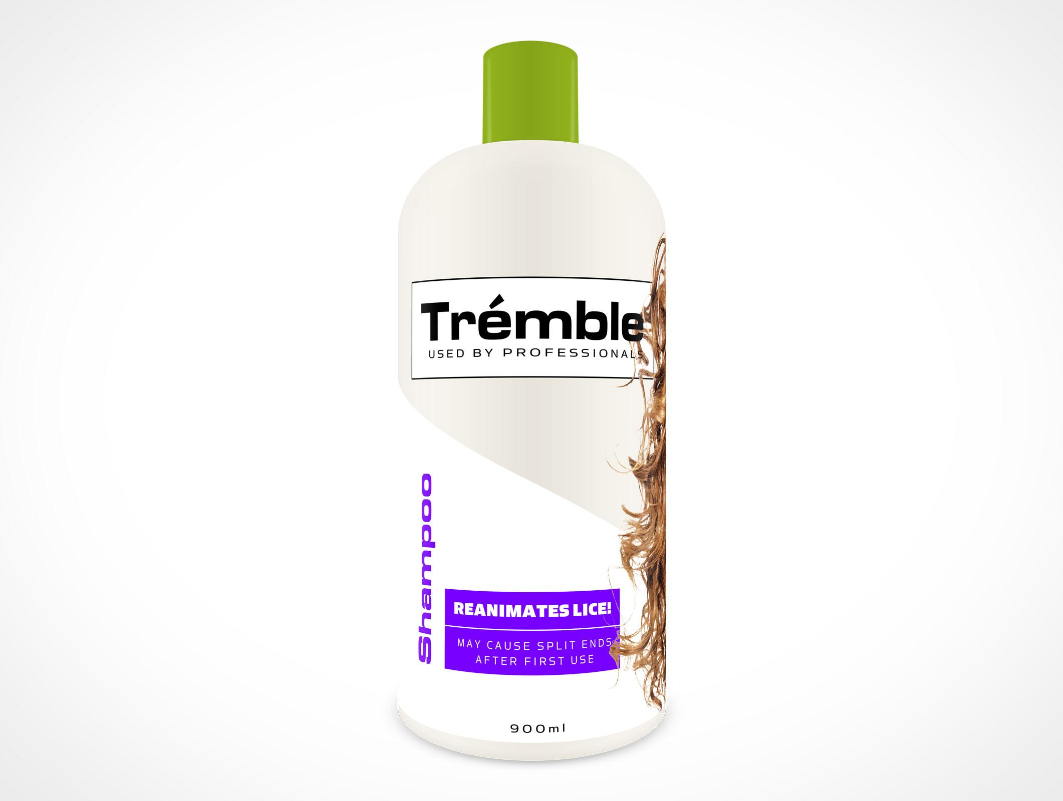 Mockup Plastic Shampoo Bottle PSD Mockup Label
