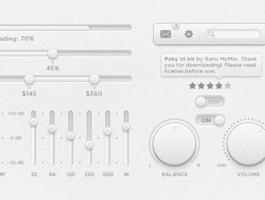 GUI PSD Mockup Kit Knobs Sliders Dials EQ Photoshop