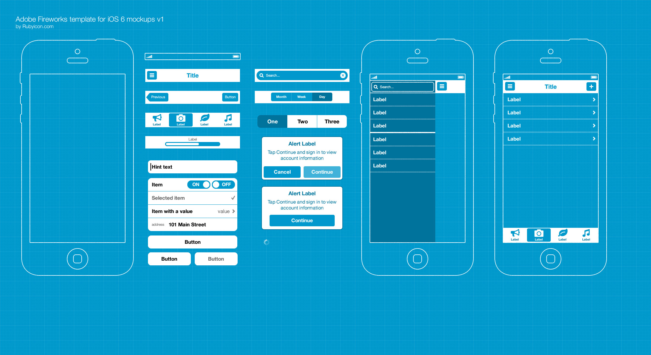 free adobe fw template for ios 6 wireframing blueprints