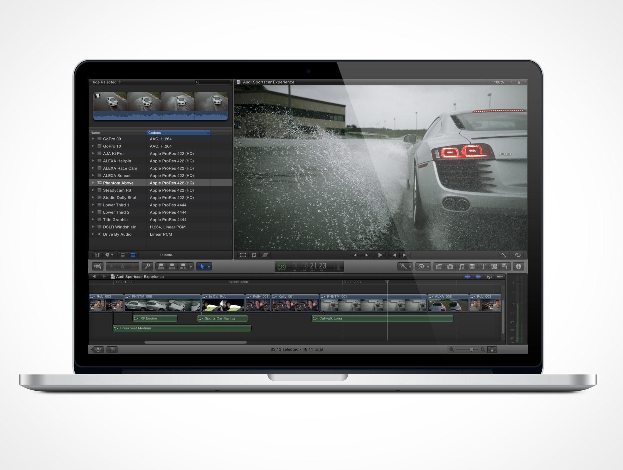 Apple MacBook Pro Retina 15 inch Thunderbolt Forward Front Photoshop PSD Mockup Action