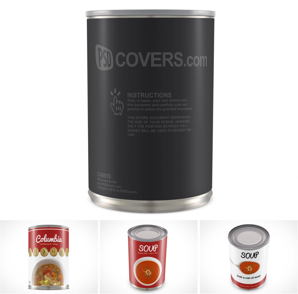 PSD Mockup Template Tin Cans Soups Cream Purees