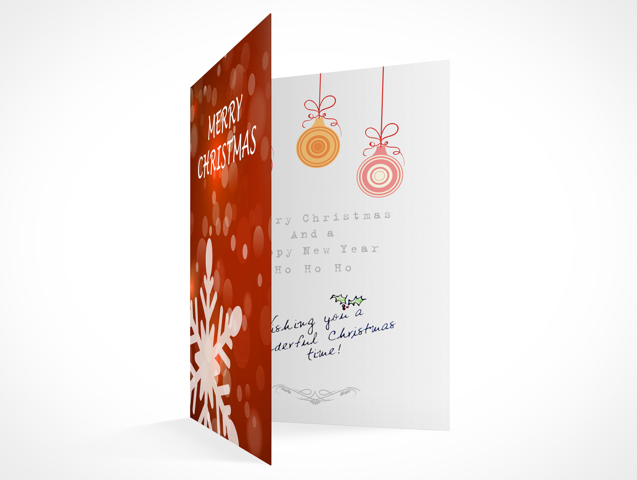 Blank holiday christmas greeting card mockups psd mockups blank holiday christmas greeting card template mockups m4hsunfo