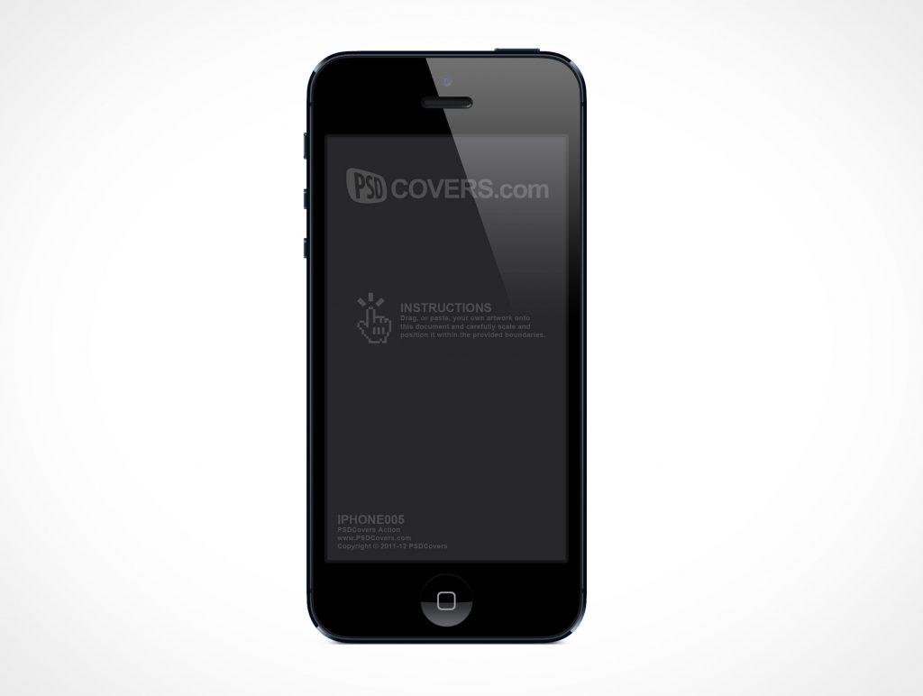 Forward Front Facing Black iPhone 5 PSD Mockup