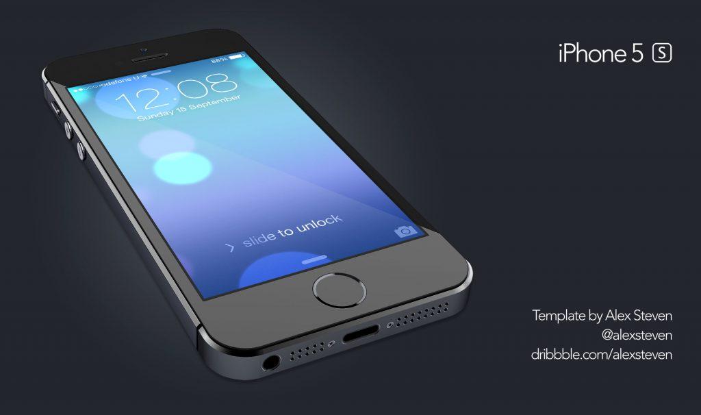 3D Glossy iPhone 5S PSD Mockup