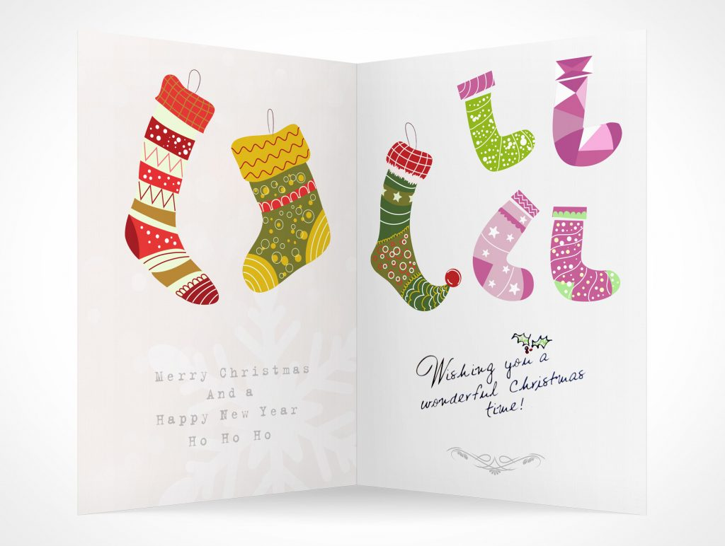 Christmas Stocking Stuffed Greeting Holiday Card PSD Mockups