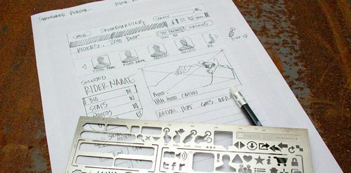UI Stencil Blocking Wireframe Mockups on Paper