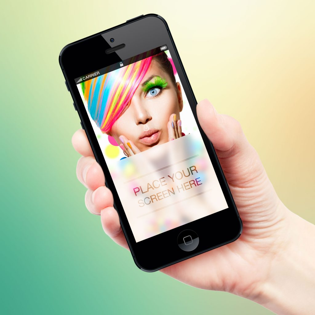 Male Hand Holding iPhone 5 PSD Mockup