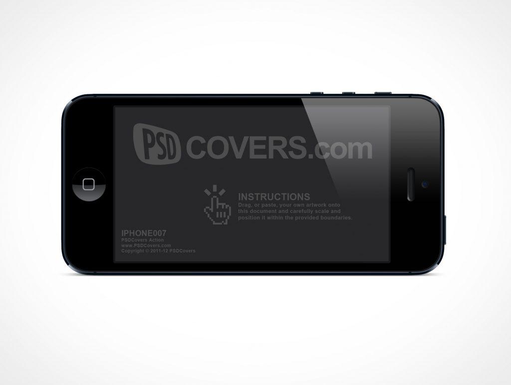 Landscape Apple iPhone 5 PSD Mockup