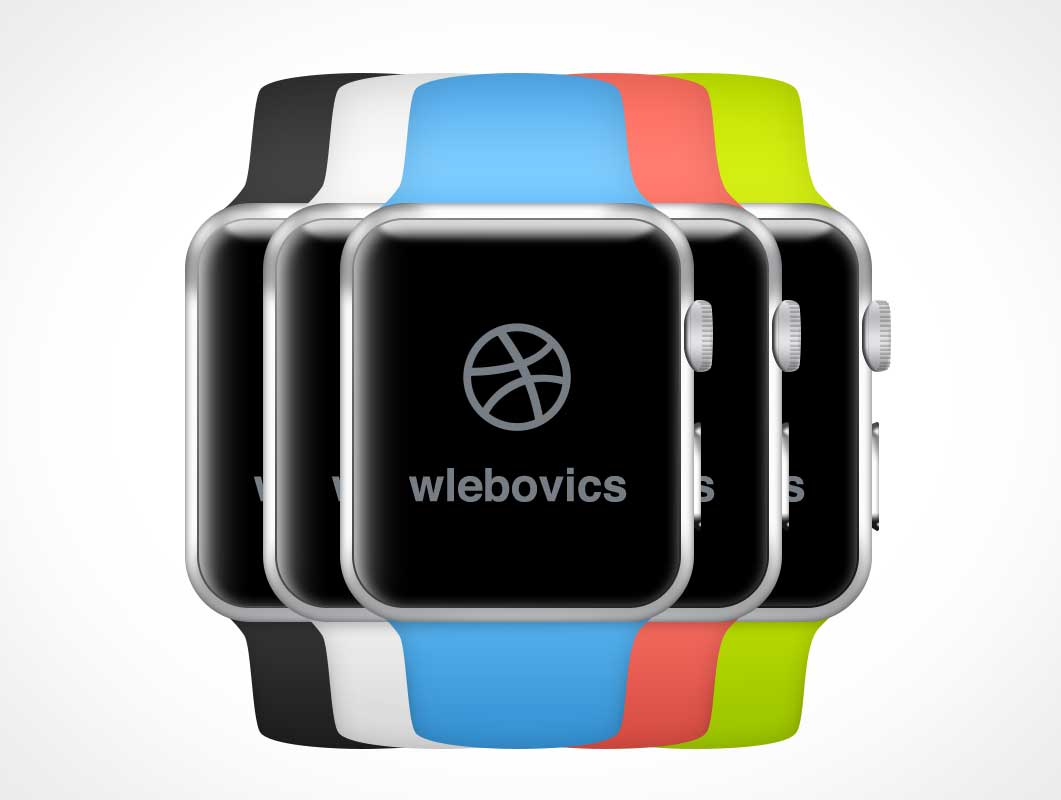Apple Watch Multiple Colours PSD Mockup