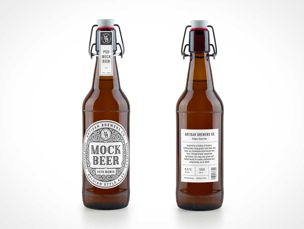 Artisan Glass Beer Bottle PSD MockUp With Swing Top Clamp Cap