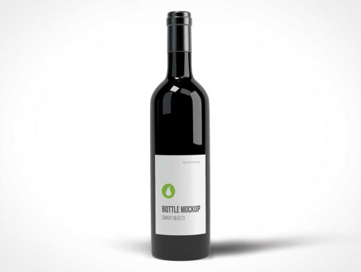 Black Wine Bottle Photo Realistic PSD Mockup