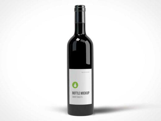 Black Wine Bottle Photo Realistic PSD Mockup