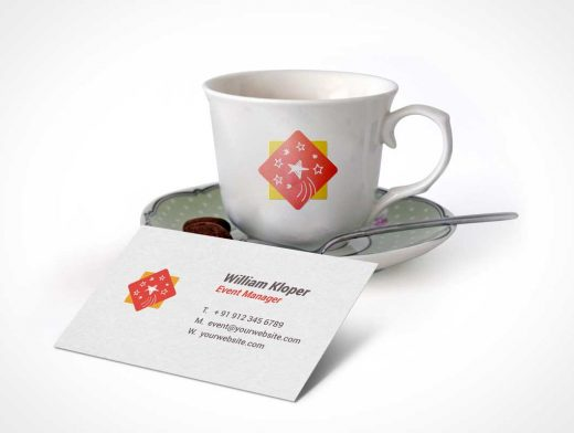 Business Card And Coffee Cup Scene PSD Mockup