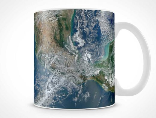 Ceramic Mug With Handle PSD Mockup