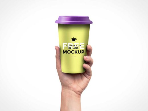 Coffee Cup In Hand PSD Mockup