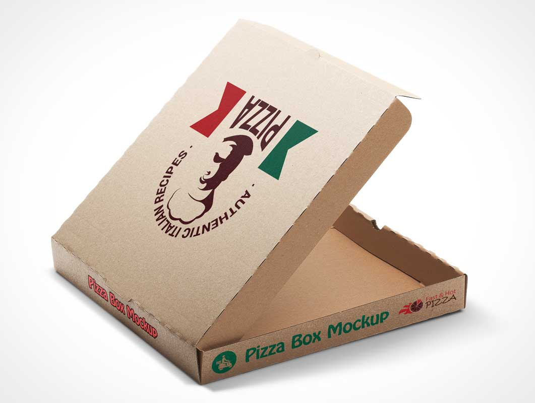 Four Stage Pizza Box PSD Mockup