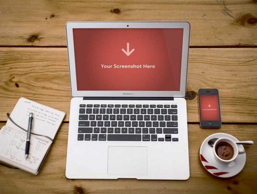 Free MacBook Air Showcase PSD Mockup And iPhone 4S