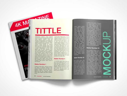 Free PSD Mockup 4K Centrefold Magazine And Cover
