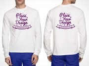 Free White Long Sleeves Front and Back T-shirt PSD Mockup