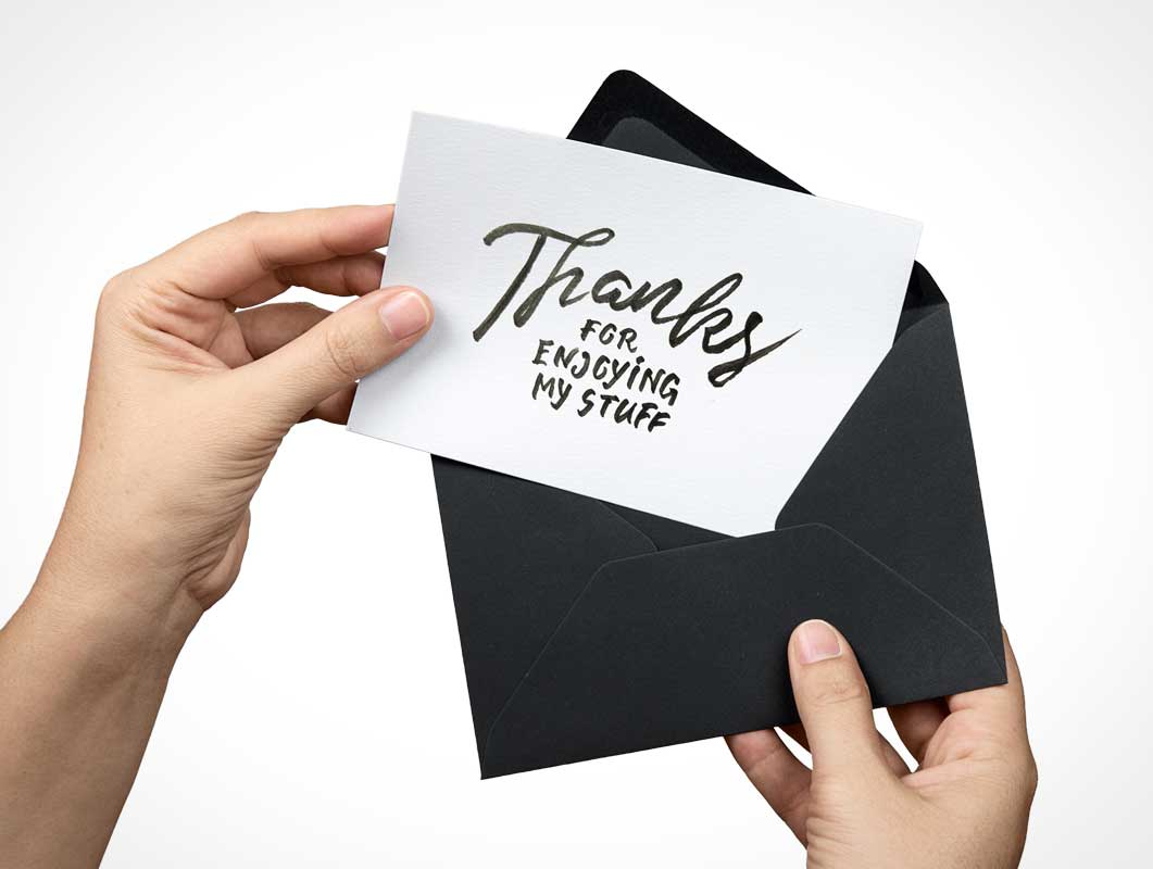 Greeting Card or RSVP PSD MockUp in Envelope