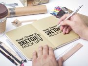 Hand Drawn Sketch PSD Mockups