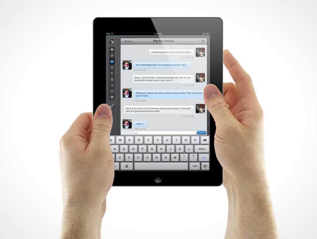 Hands Presenting iPad App PSD Mockup