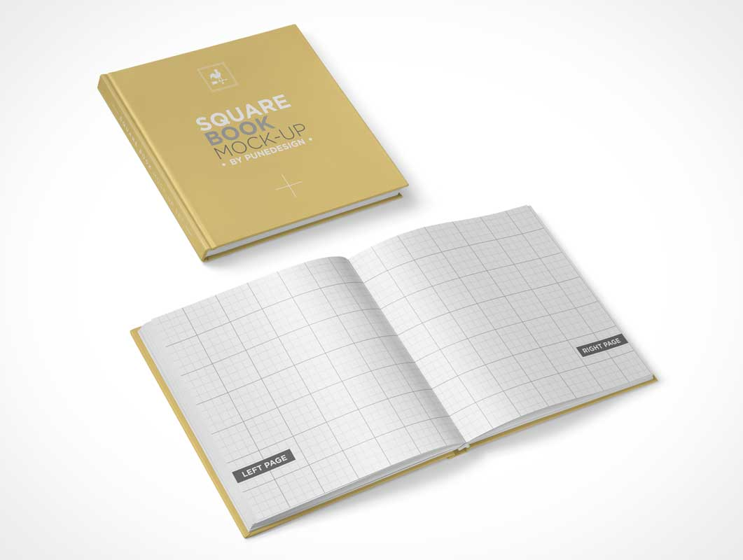 Hard Cover Book And Paper Back ~ Hardcover square book psd mockup mockups