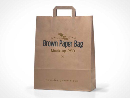 High Quality Brown Shopping Bag PSD Mockup