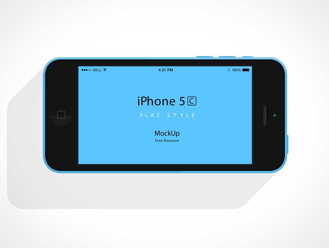 Landscape Orientation iPhone 5C Flat Design PSD Mockup