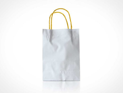 Paper Bag with Yellow Handles PSD Mockup