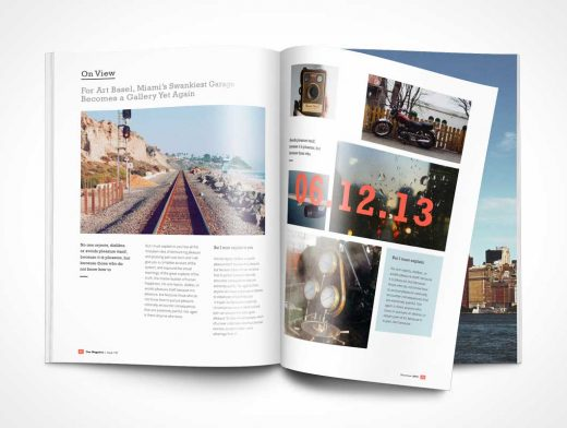 Photorealistic Magazine PSD Mockup with Page Turn