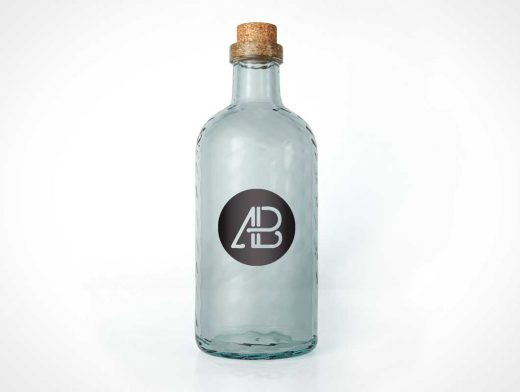 Realistic Glass Bottle PSD Mockup with Cork