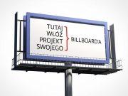 Roadside Billboard with Scafolding PSD Mockup