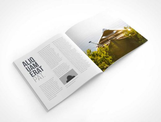 Rotated Square Magazine PSD Mockup Centrefold Layout