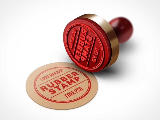 Rubber Stamp Logo PSD Mockup Wood Handle