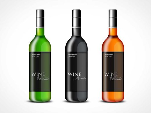 Sealed Glass Wine Bottle PSD Mockup Template