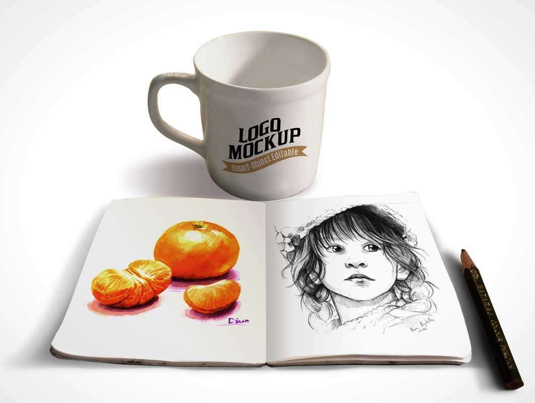 Sketchbook And Coffee Cup PSD Mockup