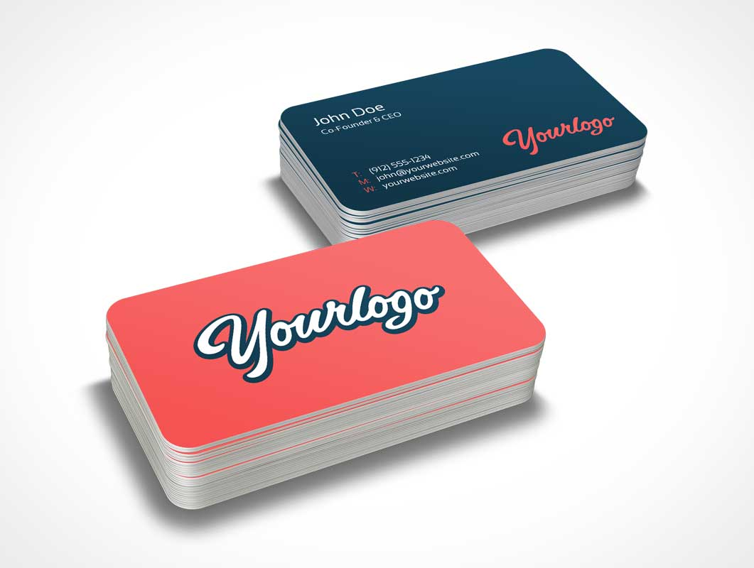 Stack of Business Card PSD Mockup